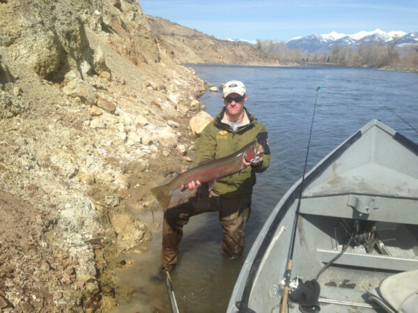 Beautiful day to be on the Salmon River, catching steelhead.