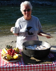 A Happy Aggipah Guest about to enjoy a Salmon River breakfast