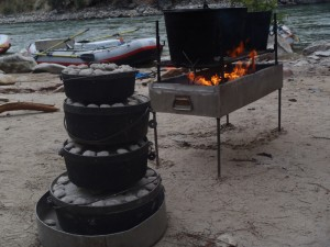 Meals prepaired with Dutch Ovens on the shore of the river of no return