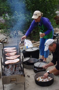 Delicious dutch oven meals prepaired on the shore of the Salmon River