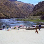 Whitehouse Bar on the Lower Salmon River, picnic lunch with Aggipah River Trips in Salmon Idaho.