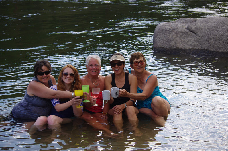 Family and Friends unite on the bank of the Salmon River in Idaho